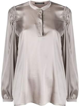 Luisa Cerano ruched shoulder detail blouse