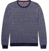 Isaia Striped Cotton and Linen-Blend Sweater