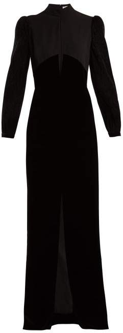 Givenchy Velvet And Crepe Gown - Womens - Black