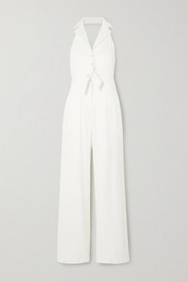 Temperley London Sophia Tie-detailed Cutout Linen-blend Halterneck Jumpsuit - White