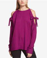 DKNY French-Cuff Cold-Shoulder Top