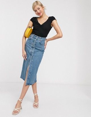 And other stories & organic cotton button through denim midi skirt in blue