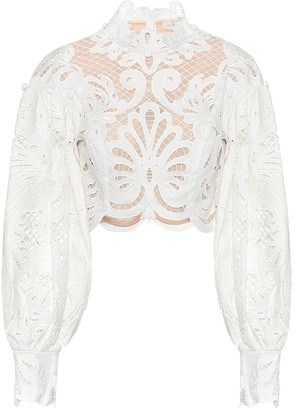 Zimmermann Wavelength linen crop top