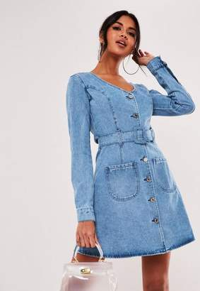 Missguided Blue Belted Button Skater Denim Mini Dress
