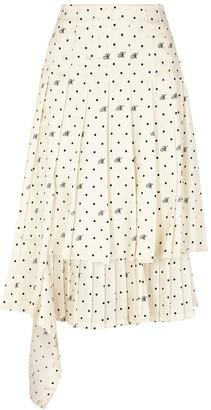 Monse Ivory polka-dot pleated midi skirt