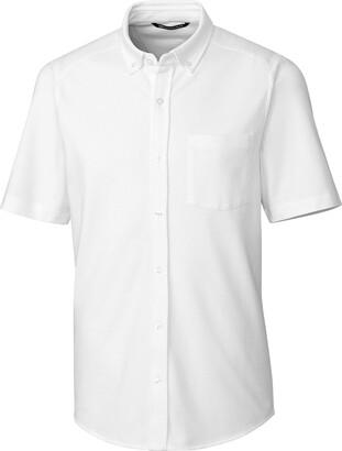 Cutter & Buck Men's Short Sleeve Cotton-Blend Knit Reach Oxford Shirt