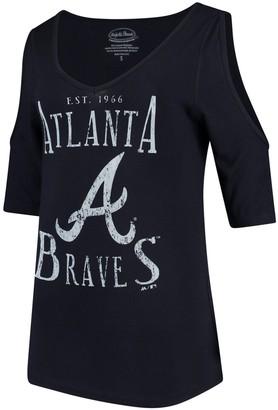 Majestic Women's Threads Navy Atlanta Braves Elbow Sleeve Cold Shoulder V-Neck 3/4-Sleeve Blouse