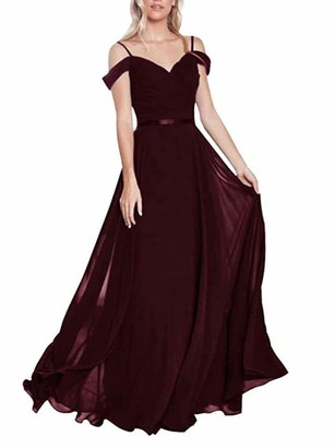 Leader Of The Beauty Blue Off The Shoulder Long Bridesmaid Dresses Chiffon Prom Dress Formal Gowns for Women UK18