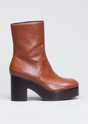 Dries Van Noten Leather Zip Platform Booties