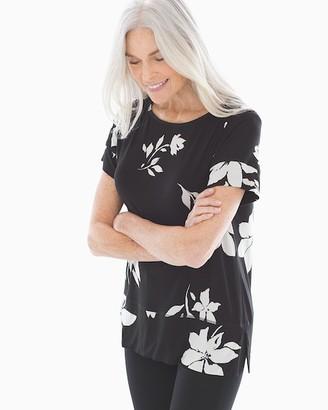 Soma Intimates Soft Jersey Short Sleeve Boatneck Top Optimisim Floral Black