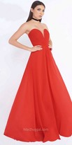 Mac Duggal A-Line Strapless Plunging Sweetheart Chiffon Dress