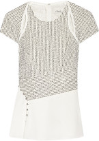 3.1 Phillip Lim Bouclé And Silk Crepe De Chine Top - Ivory