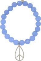 Sydney Evan Diamond Peace Sign Light Blue Jade Beaded Bracelet