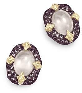 Armenta 18K Yellow Gold & Blackened Sterling Silver Old World Aquaprase & Champagne Diamond Bezel Stud Earrings