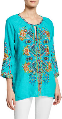 Johnny Was Sentrie Scoop-Neck 3/4-Sleeve Embroidered Linen Peasant Blouse