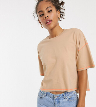 BEIGE Asos Tall ASOS DESIGN Tall oversized cropped t-shirt stepped hem in with contrast stitching