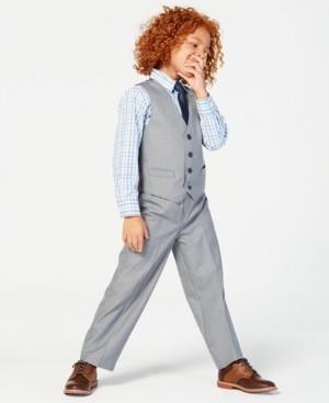Nautica 3-Pc. Sharkskin Vest, Shirt & Pants Set, Little Boys