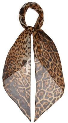 Saint Laurent Leopard-print Silk-chiffon Scarf - Womens - Brown