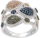Affinity Diamond Jewelry Multi-Colored Diamond Ring, 3/4 cttw, Sterling,by Affinity
