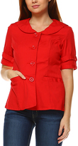 Red Round Lapel Button-Up