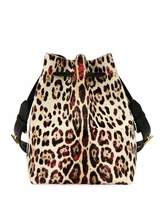 Tom Ford Edge Leopard-Print Calf Hair Hobo Bag