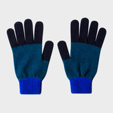 Paul Smith Men's Navy Colour-Block Wool Gloves
