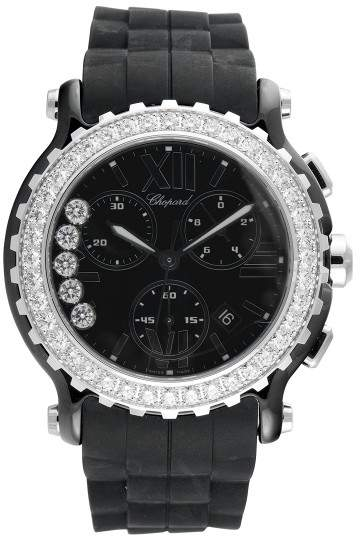 Chopard Happy Sport Black Dial Chronograph Ceramic and White Gold Womens Watch
