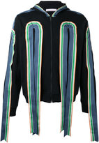 Walter Van Beirendonck - ribbon applique zipped hoodie - men - Cotton - M