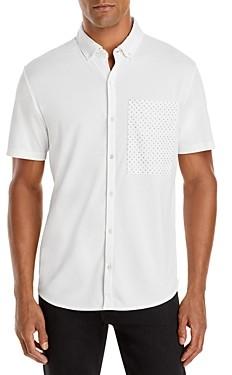 Karl Lagerfeld Paris Cotton Blend Printed Pocket Slim Fit Button Down Shirt