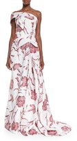 Carolina Herrera One Shoulder Carnation Fil Coupe Gown, Red Rose/White