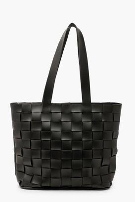 boohoo PU Weave Tote Bag