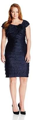 London Times Women's Cap Sleeve Sheath Dress w. Flower Detail & Portrait Collar