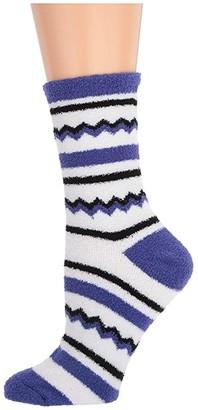 Karen Neuburger Zigzag Novelty Sock (Dark Peri Zigzag) Women's Crew Cut Socks Shoes