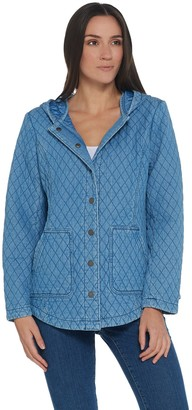 Isaac Mizrahi Live! TRUE DENIM Quilted Snap Front Hooded Jacket