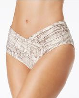 Carmen Marc Valvo Metallic Crossover High-Waist Bikini Bottoms