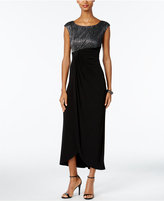 Connected Petite Metallic Faux-Wrap Gown