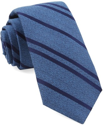 Tie Bar Wool Path Stripe Serene Blue Tie