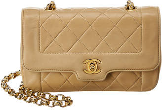 Chanel Beige Quilted Lambskin Leather Tab Mini Flap Bag
