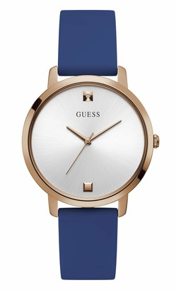 GUESS Women's Stainless Steel Analog Quartz Watch with Silicone Strap