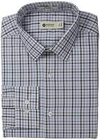 Haggar Men's North Sea Check Point Collar Regular Fit Long Sleeve Dress Shirt