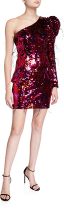 Aidan Mattox Ombre Sequin One-Shoulder Mini Dress w/ Feathers