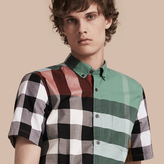 Burberry Short-sleeved Colour Block Check Cotton Shirt