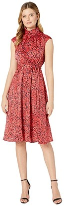 Maggy London Pretty Petal Printed Charmeuse Fit-and-Flare (Black/Coral) Women's Dress