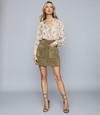 Reiss Elm - Suede Mini Skirt in Khaki