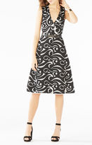 BCBGMAXAZRIA Abilene Swirl Embroidered Mesh Dress