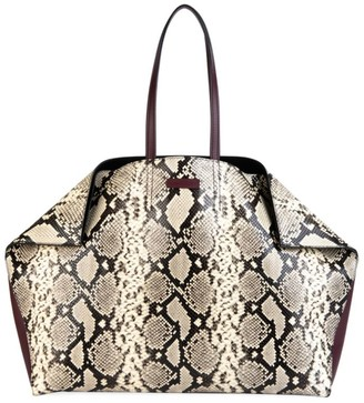 Alexander McQueen Butterfly Snakeskin-Embossed Leather Tote