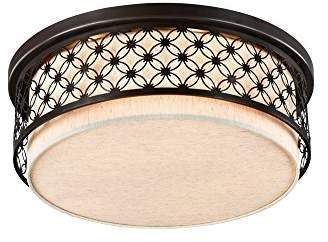 Camilla And Marc Rustic Designer Ceiling Lamp Round Brown Metal Frame with Ornament White Fabric Shade excl. 5 Bulbs x E27 40W