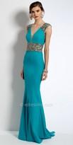 Camille La Vie Illusion Scroll Beaded Evening Dress