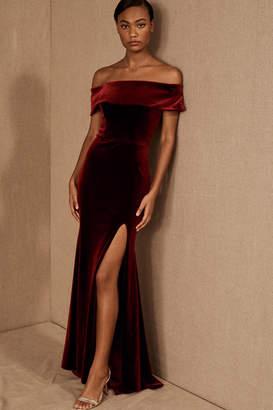 BHLDN Fawn Velvet Wedding Guest Dress