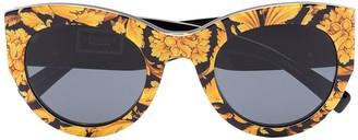Versace Eyewear Cat-Eye Baroque-Print Sunglasses